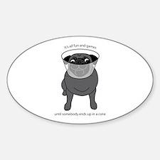 Conehead Black Pug Sticker (Oval)