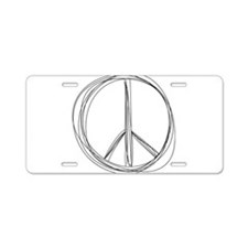 Peace Sign Illustration Aluminum License Plate