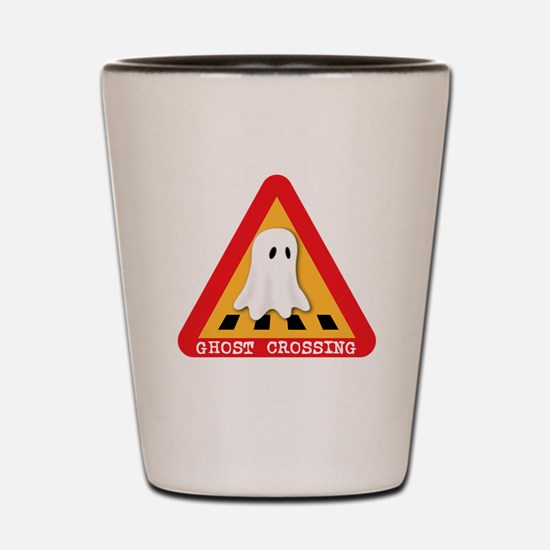 Cute Ghost Crossing Sign Shot Glass