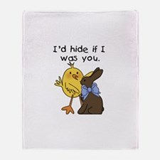 Funny Chocolate Bunny Throw Blanket