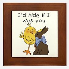Funny Chocolate Bunny Framed Tile