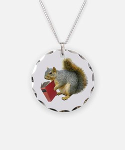 Squirrel with Book Necklace Circle Charm