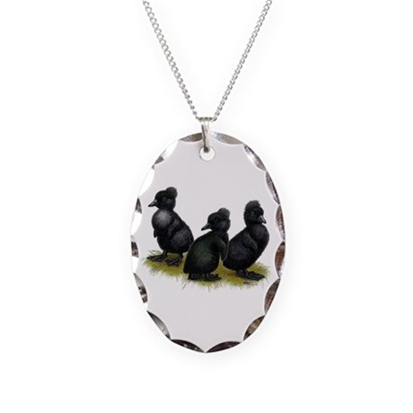 Black Crested Ducklings Necklace Oval Charm