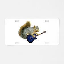 Squirrel with Blue Guitar Aluminum License Plate