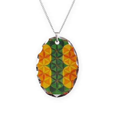 Rasta Necklace Flower of LIfe Oval Charm