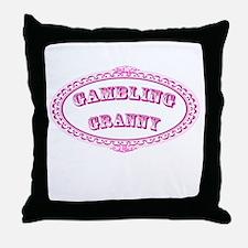 Gambling Granny Throw Pillow