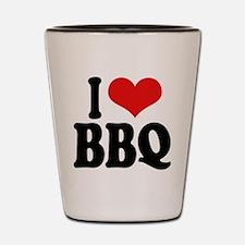 I Love BBQ Shot Glass