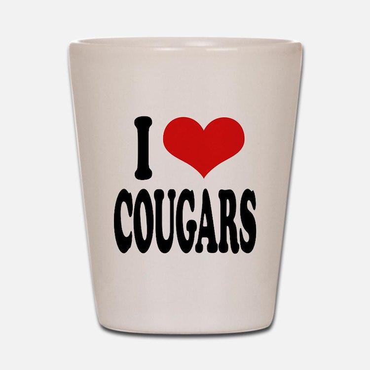 I Love Cougars Shot Glass