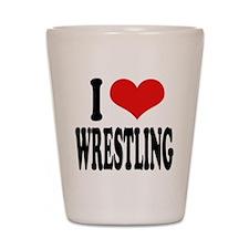 I Love Wrestling Shot Glass