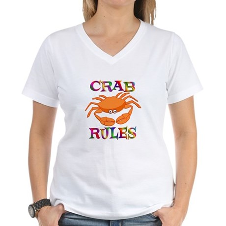 Crab Rules Women's V-Neck T-Shirt