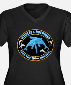 Stop Hunting Whales Women's Plus Size V-Neck Dark