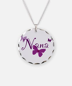 Nana Butterflys Necklace Circle Charm