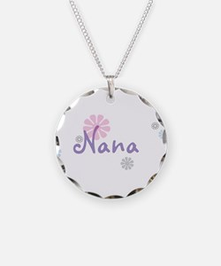 Nana Flowers Necklace Circle Charm