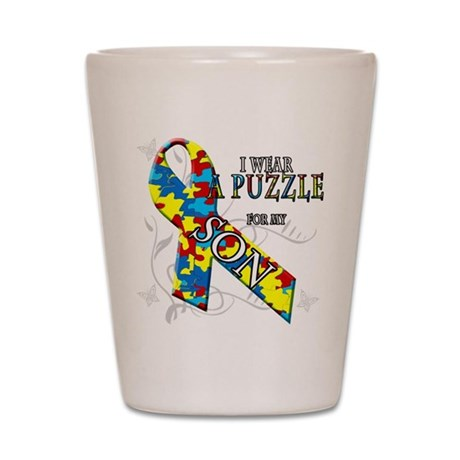 I Wear A Puzzle for my Son Shot Glass