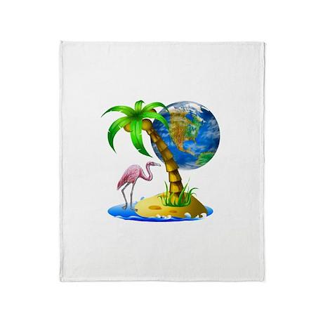 Flamingo Earth Palm Throw Blanket
