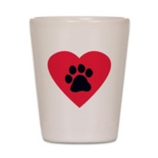 Heart Paw Print Shot Glass