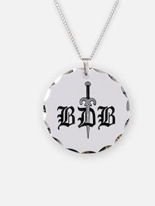 BDB Dagger Logo White Circle Charm Necklace