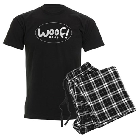 Woof! Dog-Themed Men's Dark Pajamas