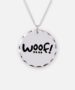 Woof! Dog-Themed Necklace Circle Charm