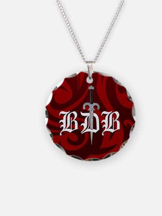 BDB Dagger Logo Red Circle Charm Necklace