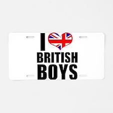 I Heart British Boys Aluminum License Plate