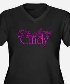 Cindy Women's Plus Size V-Neck Dark T-Shirt