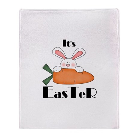 Bunny With Carrot Throw Blanket
