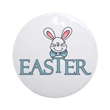 Blue Bunny Easter Ornament (Round)