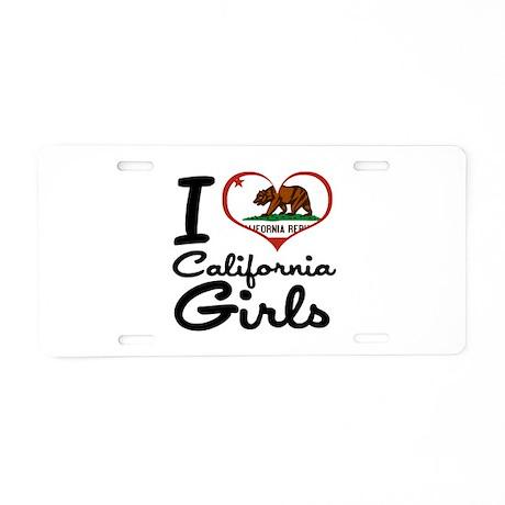 I Heart California Girls Aluminum License Plate
