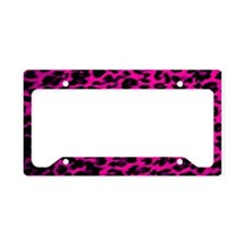 Hot Pink Leopard Print License Plate Holder