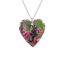 Flowers Necklace Heart Charm