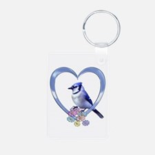 Blue Jay in Heart Keychains
