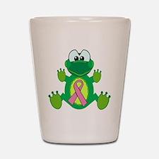 Pink Awareness Ribbon Frog Shot Glass