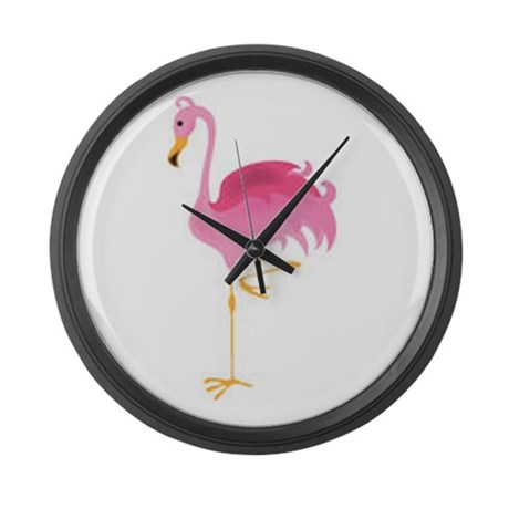 Pink Flamingo Large Wall Clock