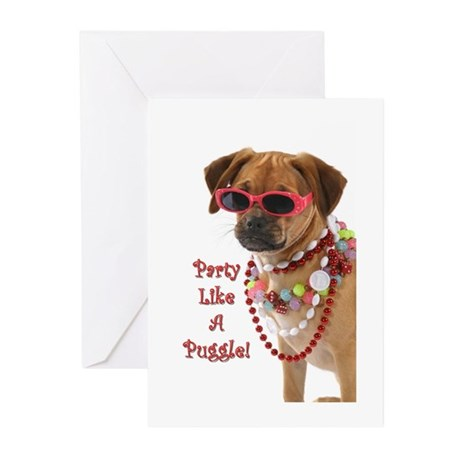 party like a puggle... Greeting Cards