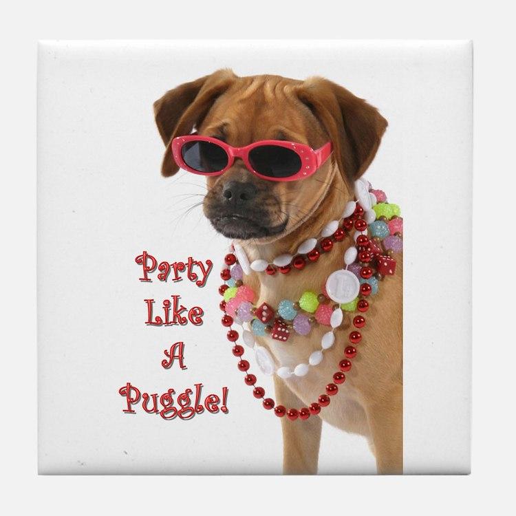 Cute Puggle puppy Tile Coaster
