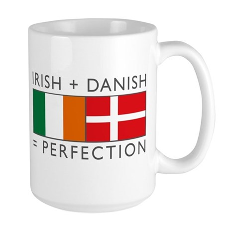 Irish Danish heritage flags Large Mug