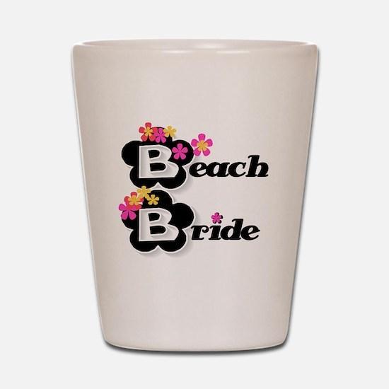 Black & White Beach Bride Shot Glass