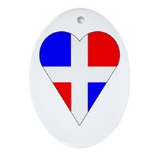 Dominican Heart-Shaped Flag Oval Ornament