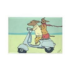 Dachshund Vintage Moped Rectangle Magnet