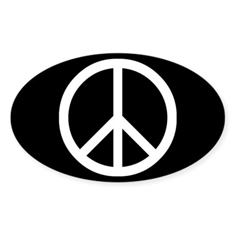 White Peace Sign Sticker (Oval)