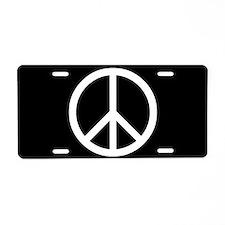 White Peace Sign Aluminum License Plate