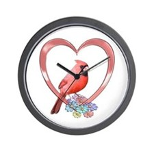Cardinal in Heart Wall Clock