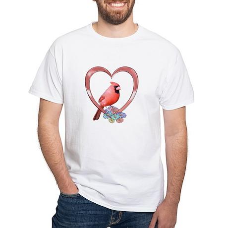 Cardinal in Heart White T-Shirt