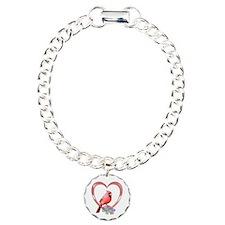 Cardinal in Heart Bracelet