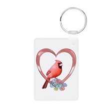 Cardinal in Heart Keychains
