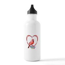 Cardinal in Heart Water Bottle
