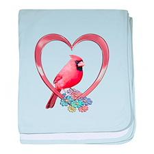 Cardinal in Heart baby blanket