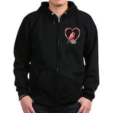 Cardinal in Heart Zip Hoodie