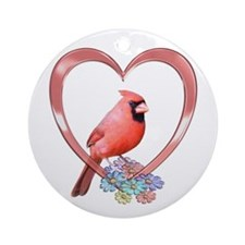 Cardinal in Heart Ornament (Round)